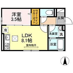JR津山線 法界院駅 徒歩7分の賃貸アパート 1階1LDKの間取り