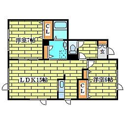 さつみハイツ壱番館[1階]の間取り