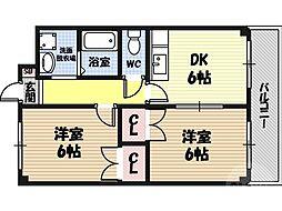 M'PLAZA城東六番館 2階2DKの間取り