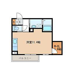 JR信越本線 長野駅 徒歩9分の賃貸マンション 1階ワンルームの間取り