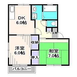 クローバーコートA[1階]の間取り