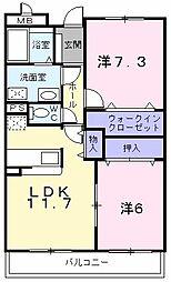 東京都東大和市上北台3丁目の賃貸マンションの間取り