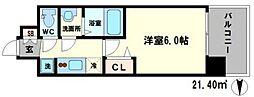エグゼ江坂 6階1Kの間取り