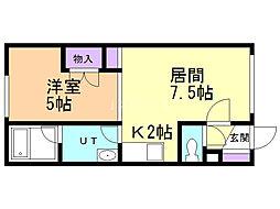 エリートMS 2階1DKの間取り