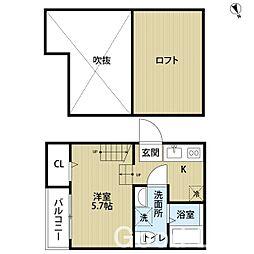 福岡県福岡市東区原田1丁目の賃貸アパートの間取り