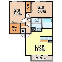 長崎県諫早市小野町の賃貸アパートの間取り
