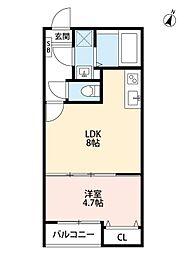 JR埼京線 与野本町駅 徒歩13分の賃貸アパート 3階1LDKの間取り