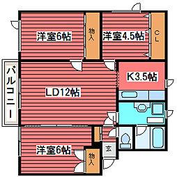 ライラックA[3階]の間取り