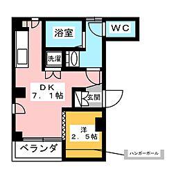 スカイレジテンス菊川 2階1DKの間取り
