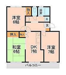 カーサ六高台[2B号室]の間取り