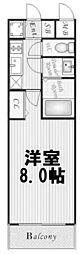 大阪WESTレジデンス 7階1Kの間取り
