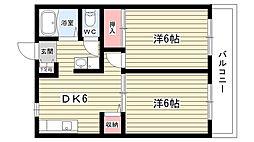 大阪府豊中市西泉丘3丁目の賃貸アパートの間取り