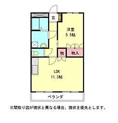 愛知県一宮市今伊勢町宮後字郷中茶原の賃貸アパートの間取り