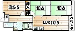 福岡県北九州市八幡東区大蔵1丁目の賃貸マンションの間取り