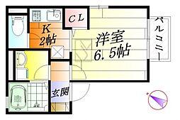 大阪府摂津市庄屋1丁目の賃貸アパートの間取り