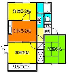 メゾンドエルB[2階]の間取り