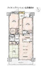 3SLDK(納戸)、専有面積77.18平米、バルコニー面積10.07平米、床暖房付き。