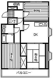 アトリオ城ケ崎[302号室]の間取り