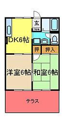 JR内房線 八幡宿駅 徒歩16分の賃貸アパート 2階2DKの間取り