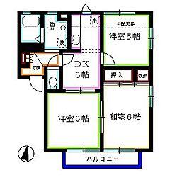 埼玉県新座市野寺2丁目の賃貸アパートの間取り