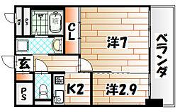 アベニュー黒崎[8階]の間取り