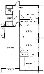 千秀第3ビル[3号室]の間取り