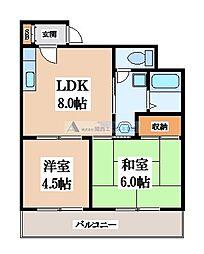 メゾンドール若江北[3階]の間取り