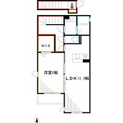 JR中央本線 三鷹駅 バス20分 中原三下車 徒歩3分の賃貸アパート 2階1LDKの間取り