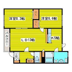 北海道札幌市東区北二十一条東14丁目の賃貸アパートの間取り