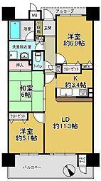 グランスイート日根野駅前[9階]の間取り