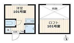 スタジオアパートメント大久保(ネット無料・更新料0円)[101号室号室]の間取り