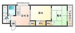 京阪本線 守口市駅 徒歩7分の賃貸マンション 2階2DKの間取り