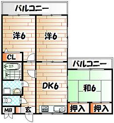 トーカンマンション平尾[3階]の間取り