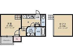 福岡県福岡市早良区野芥2丁目の賃貸アパートの間取り