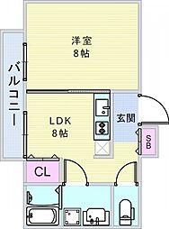 アールグランツ一乗寺[1階]の間取り