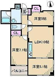 東京都荒川区西尾久8丁目の賃貸マンションの間取り