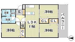 リノスタイル姫路北条[306号室]の間取り