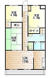 茨城県土浦市小松1丁目の賃貸マンションの間取り
