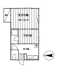 かおりハイツ[102号室]の間取り