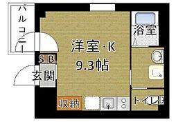 東京メトロ有楽町線 新富町駅 徒歩8分の賃貸マンション 4階ワンルームの間取り