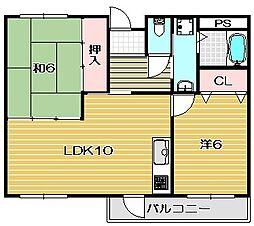 大阪府茨木市玉島2丁目の賃貸マンションの間取り
