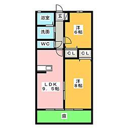 愛知県一宮市三ツ井5丁目の賃貸アパートの間取り