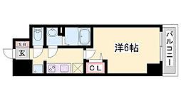 プレサンス兵庫駅前 13階1Kの間取り