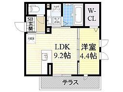 JR阪和線 和泉府中駅 徒歩8分の賃貸アパート 1階1LDKの間取り
