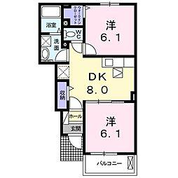 コンフォール矢三 B[103号室]の間取り