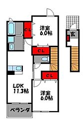 福岡県福岡市東区舞松原6丁目の賃貸アパートの間取り