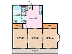 三重県鈴鹿市西条2丁目の賃貸マンションの間取り