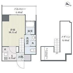 福岡市地下鉄七隈線 薬院大通駅 徒歩4分の賃貸マンション 9階1Kの間取り