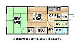 福岡県北九州市小倉北区井堀2丁目の賃貸アパートの間取り