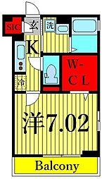 (仮)D-room東葛西6丁目 2階1Kの間取り